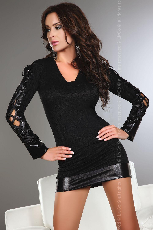 Блуза с кожа
